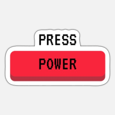 Power Press Press Power Gaming Console Gamer Button - Sticker