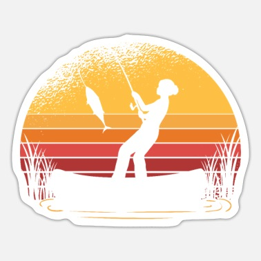 Fishing Sunset Woman Outdoor Hunter - Sticker