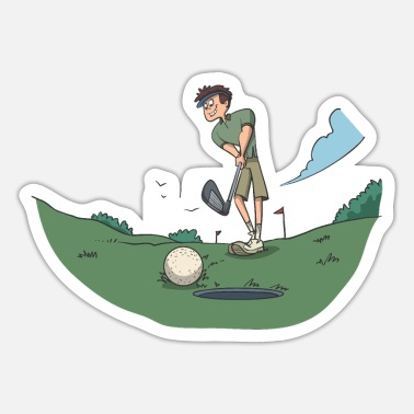 Accuracy Golf player at putting hole - Sticker