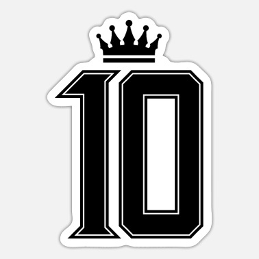 Jersey Number 10 number crown - Sticker
