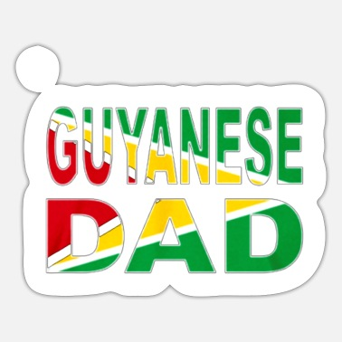 Green White Red Guyanese Dad Flag White Red Green Yellow Nation L - Sticker