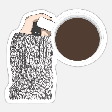 Top View Handheld Coffee Cup By A Girl Line Art - Sticker