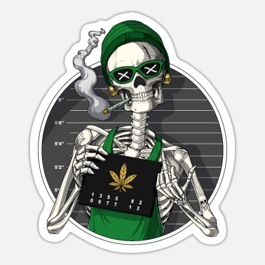 Mugshot Skeleton Stoner Mugshot - Sticker