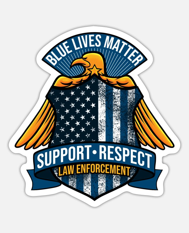 Line Stickers - Blue Lives Matter Badge | Thin Blue Line Flag - Sticker white matte