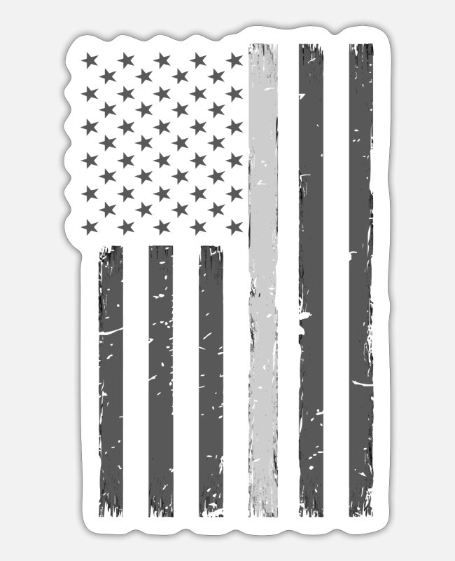 Line Stickers - Thin Silver Line Flag Correctional Officer Gift Te - Sticker white matte