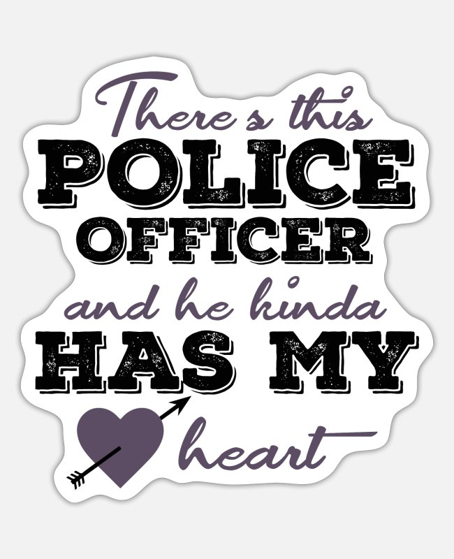 Profession Stickers - Policeman with police dog and blue light - Sticker white matte