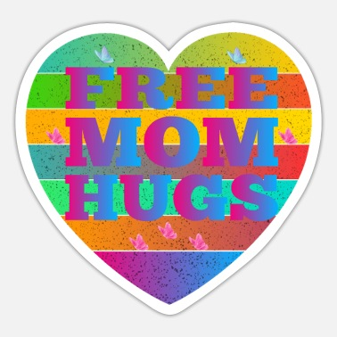 Free Free Mom Hugs- Rainbow Pride LGBT - Sticker