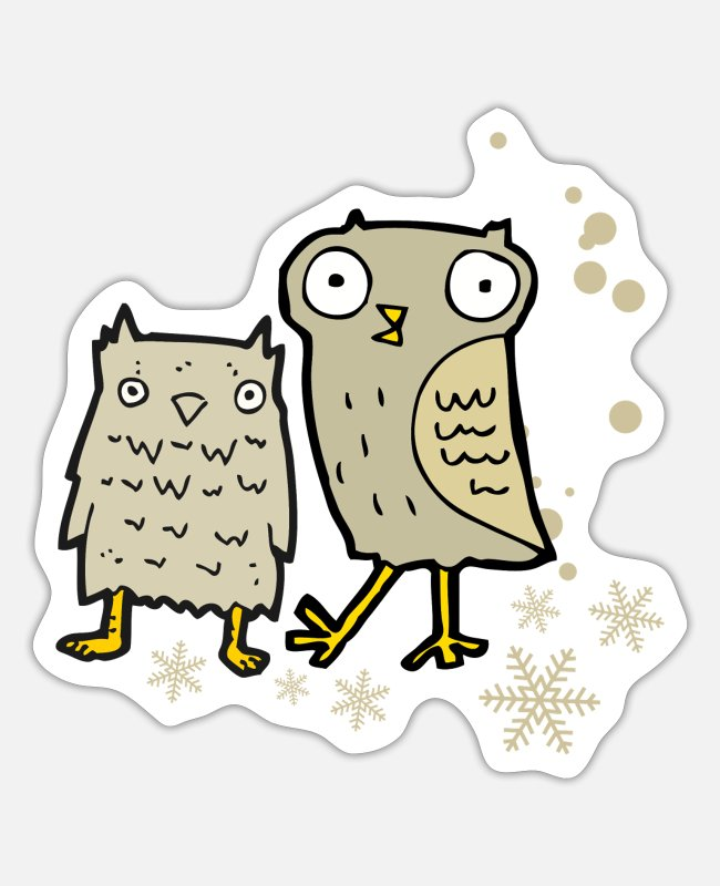 December Stickers - Cute owl with snowflakes - Sticker white matte