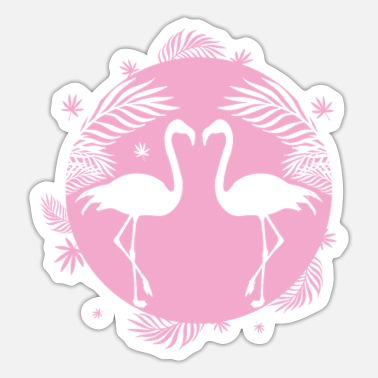 Beak flamingos in love face each other - Sticker