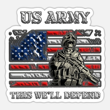 Ship US Army - This we'll defend USA Flag - Sticker