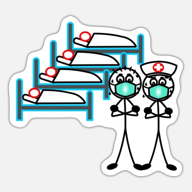 Hero Hospital with doctor and nurse and patients in bed - Sticker