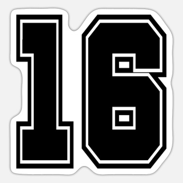 Jersey Number 16 back number college style football soccer - Sticker