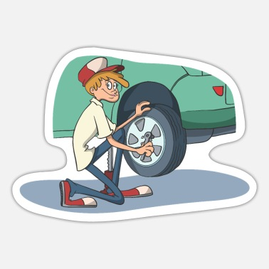 Car Tires Car mechanic changing tires - Sticker