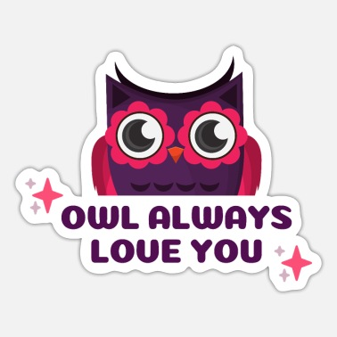 Occasion Illustrated Valentine Occasion with Owl drawing - Sticker