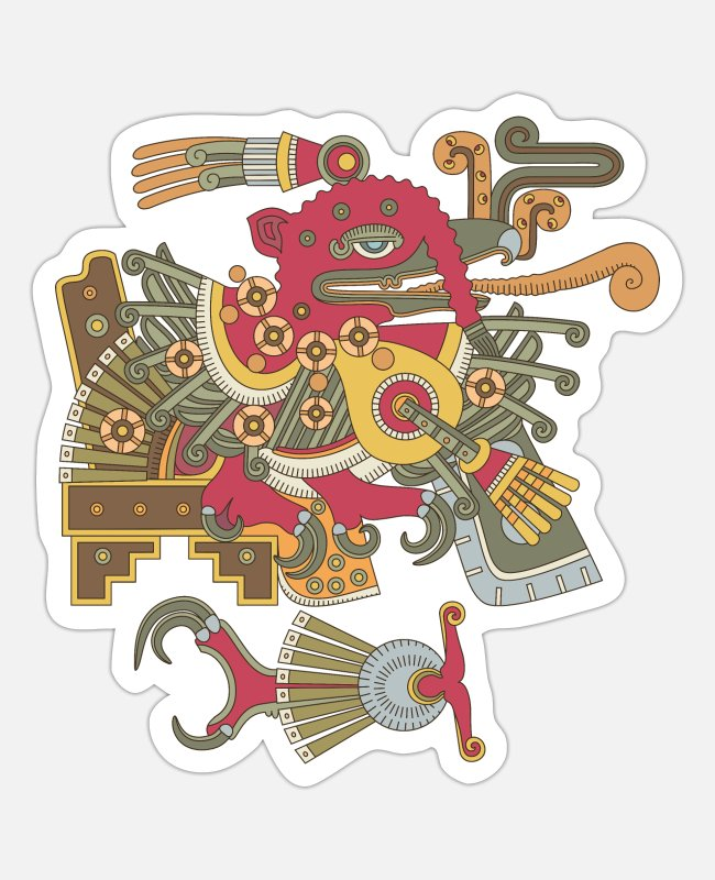 Native Stickers - Chalchiuhtotolin aztec god - Sticker white matte