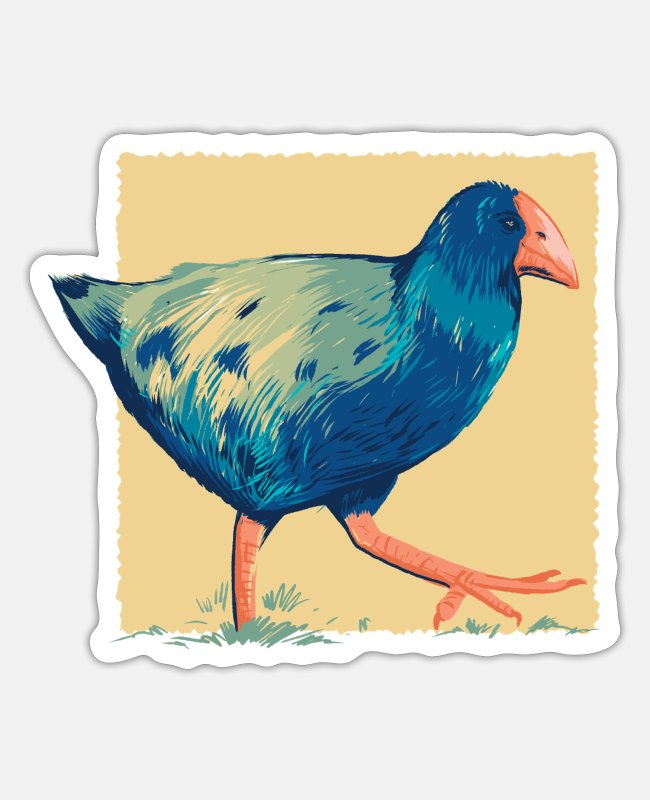 Drawing Stickers - New Zealand Takahe bird blue colored bird drawing - Sticker white matte