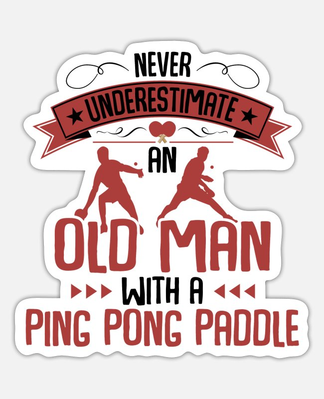 Tennis Stickers - Never underestimate an old man with tennis - Sticker white matte