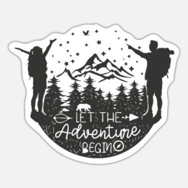 Adventure Begins Man Woman - Sticker