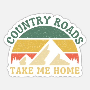 Geraud Country Roads Mountains Retro Sunset Take Me Home - Sticker