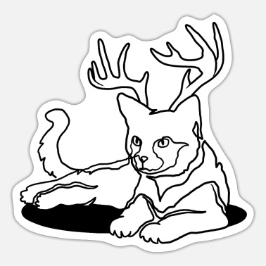 Advent Cat with antlers - Sticker