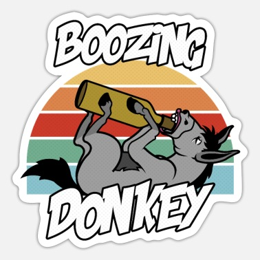 Booze Boozing Donkey - Sticker
