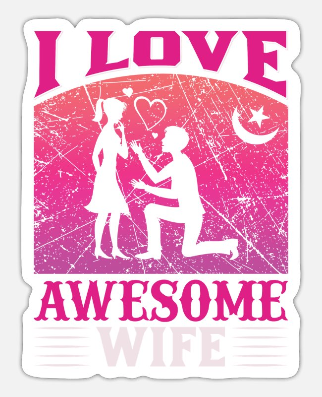Heart Stickers - I Love awesome wife - Sticker white matte