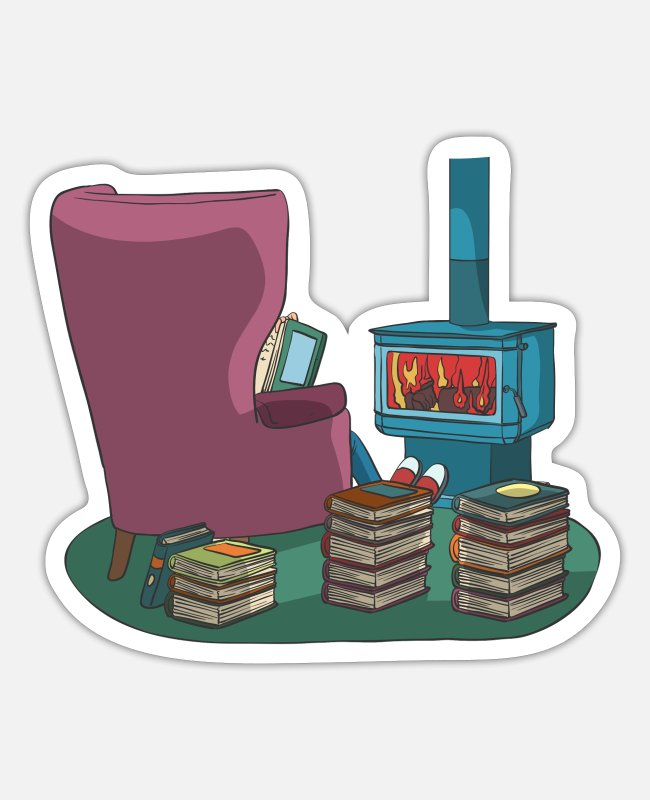 Read Stickers - Reading books in armchair at stove - Sticker white matte