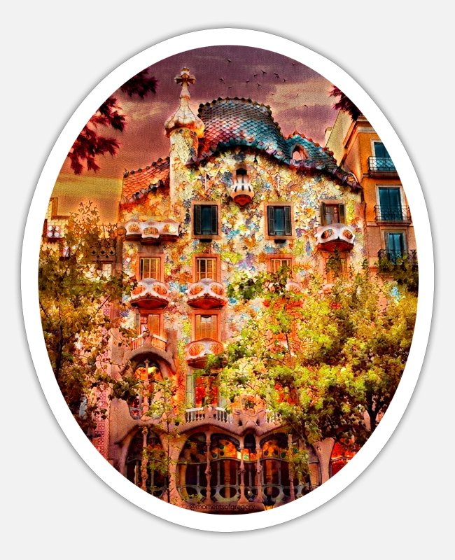 Building Stickers - Casa Battló, Barcelona, Spain - Sticker white matte