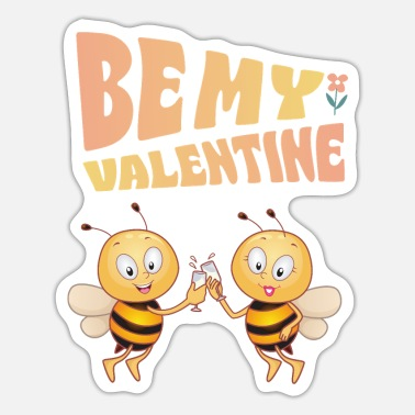 Bees Bee Mine, Valentine - Sticker
