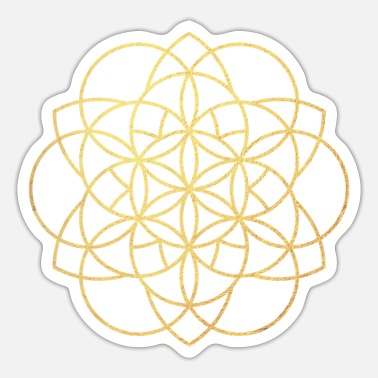 Deluxe Yoga Lines Gold Mandala Flower Energy Namaste om - Sticker