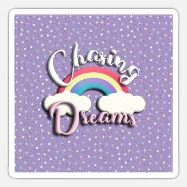 Chasing Rainbows chasing dreams rainbow violet with stars - Sticker