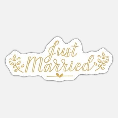 Groom Text Just Married Gold text bride and groom family gift - Sticker