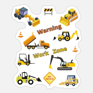 Warning Construction and Excavation Work Zone - Sticker