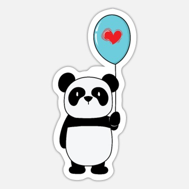Panda Panda Bear with Heart on a Balloon - Sticker