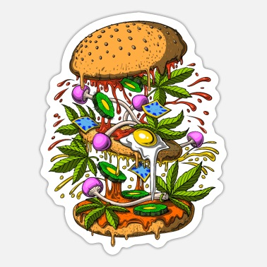 Stoner Psychedelic Burger - Sticker
