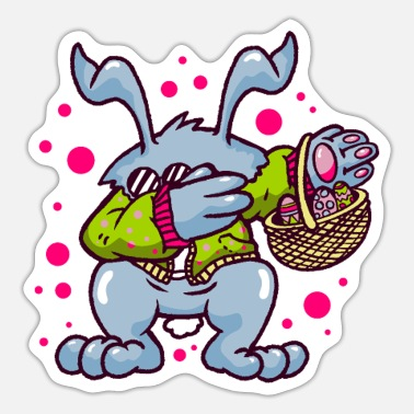 Dabbing Easter Bunny dabbing with easter basket and eggs - Sticker