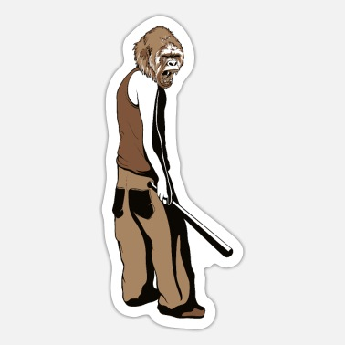 Baseball Gorilla Monkey Silverback - Gorilla monkey face Baseball - Sticker