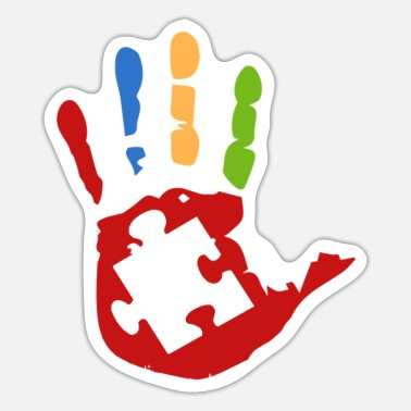 That S Life Colorful Autism Hand Print Down Syndrome ASD Gift - Sticker