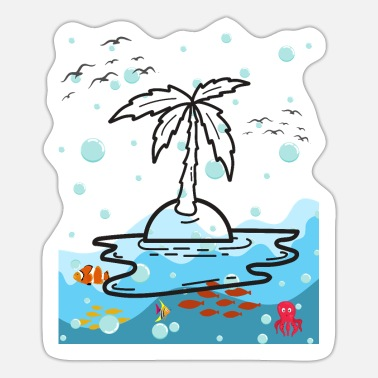 Island Ocean fish and palm - Sticker