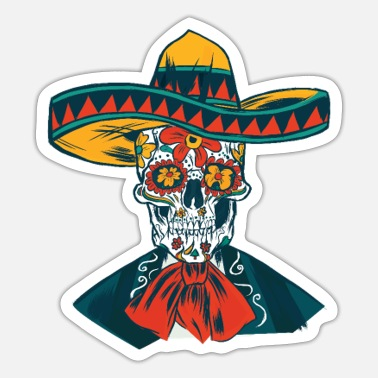 Latino Mexican Skeleton Sugar Skull Sombrero - Sticker