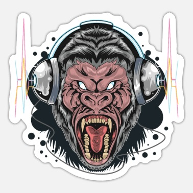 Monkeys Gorilla Monkey Headphones Music DJ Dancing Party - Sticker