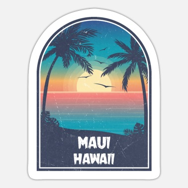 Maui Maui Hawaii Vintage Retro - Sticker