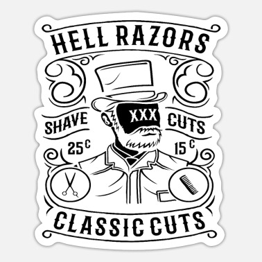 Scissors Hell Razors Shave Cuts Classic Barber Hairdresser - Sticker