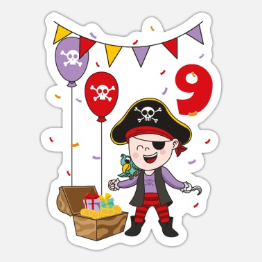 Pirate Party 9 years pirate 9th birthday kids fun boys kid gift - Sticker