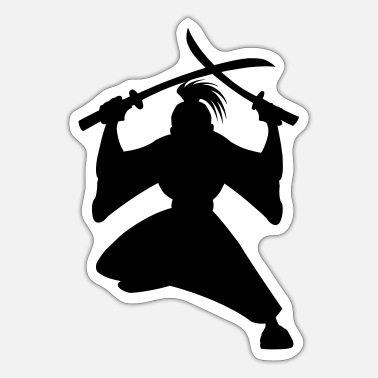 Sword Fight Samurai with two swords in fighting position - Sticker