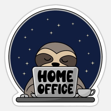 Office Home Office Sleeping Sloth On Computer Coffee - Sticker