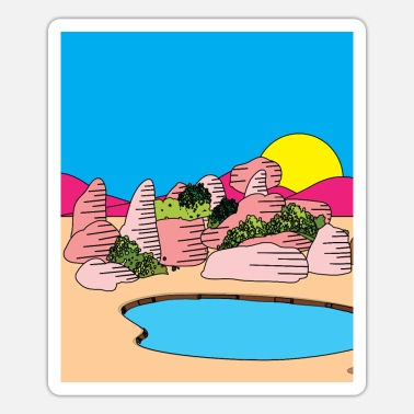 Egypt Retro Lake In The Desert Sun - Sticker