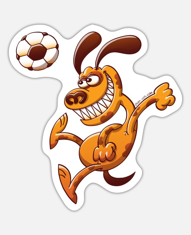 Soccer Stickers - Dog Heading a Soccer Ball - Sticker white matte