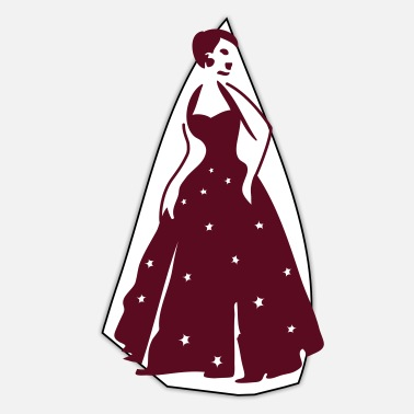 Gown beautiful vintage dancing woman with pretty stars - Sticker