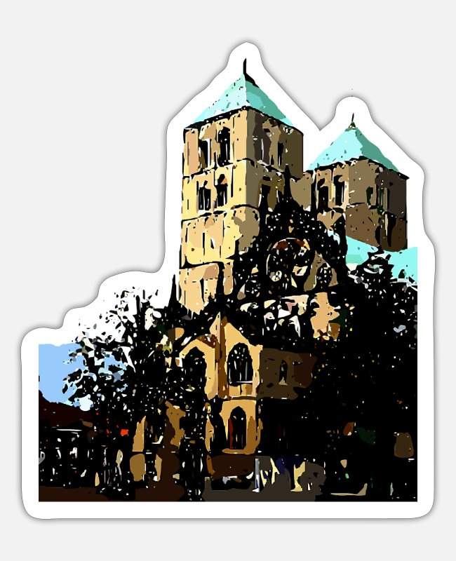 Drawing Stickers - Beautiful architecture of Moonster graphic art - Sticker white matte